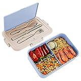 Speyang Bento Box Weizenstroh Brotzeitbox, Brotdose Bento 3 Fächer, Lunchbox mit Besteck Auslaufsicher, Brotbox Schule Kinder Vesperdose, Erwachsene, Mikrowelle Heizung, BPA Frei (Blue)