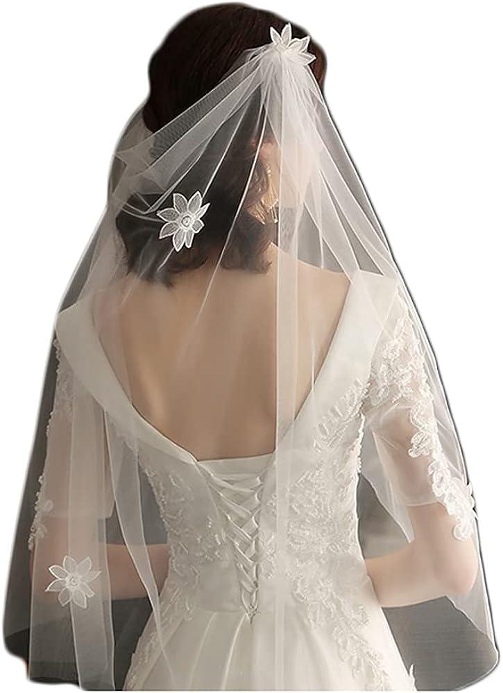 Women's Bridal Veil 1T Veil Flower Medium Length Simple Veil with Comb Veil