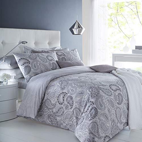 Sleepdown Paisley Grey Duvet Cover & Pillowcase Set Bedding Digital Print Quilt Case Bedding Bedroom Daybed (Double)