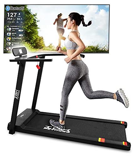 Tapis Roulant elettrico Home Fitness, Tappeto da corsa pieghevole (2.5 HP picco) salvaspazio con Bluetooth integrato, Sensore Cardio, Velocità regolabile 14 km/h (Nero)