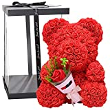 Blumenbär mit Herz | Rosenblumenbär 38cm | PE Schaum Simulierte Rose Bär Puppe | Künstlicher...