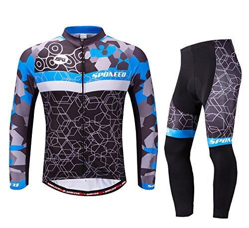 sponeed Fahrradbekleidung für Herren, langärmelig, Mountainbike, Rennrad, Jeresys Hose, gepolstertes Fahrrad Jakcet Outfit, Herren, Blau/Mehrfarbig, Asia M=US Small