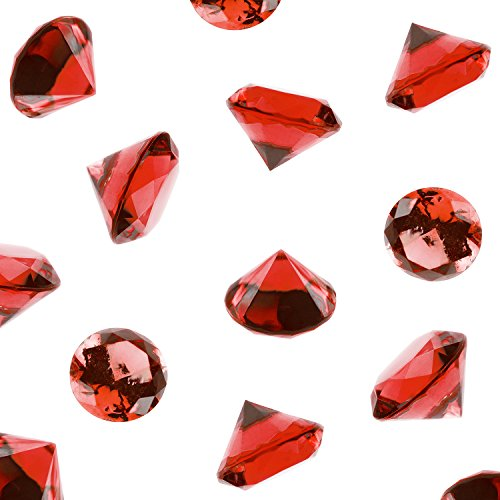 Super Z Outlet Acrylic Color Faux Round Diamond Crystals Treasure Gems for Table Scatters, Vase Fillers, Event, Wedding, Birthday Decoration Favor, Arts & Crafts (1 Pound, 240 Pieces) (Red)