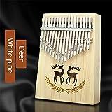 XSWY 17 teclas dedo pulgar Kalimba de piano de piano for principiantes instrumento musical del corazón del melocotón de pino macizo africano con libro de estudio martillo de sintonía Fácil de usar