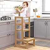 AMBIRD Toddler Step Stool, 3 Adjustable Height Kitchen Step Stool for 18-48 Months Kids, Wooden Toddler Kitchen Stool with Rail & Non-Slip Mat for Kitchen & Bathroom Sink (Natural Color)
