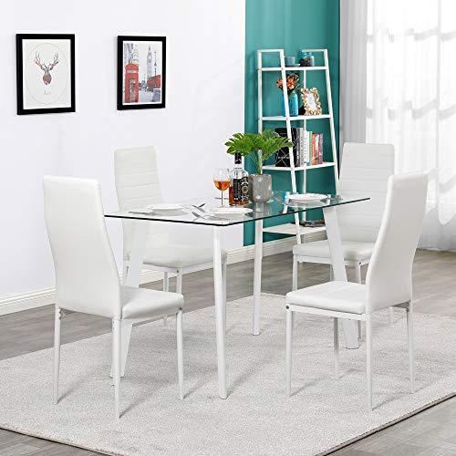 Hot 5-teiliges Esstisch-Set mit 4 Stühlen aus Glas und Metall, Küchenmöbel, Tisch und Stühlen, weiß