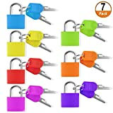 7 Pieces Small Padlock, Multicolor Coated Brass Suitcase Lock with Key for Luggage