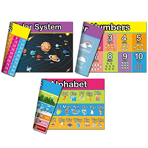 Agantree art Double Sided Reusable Educational Preschool Placemats,Set of 3, Kids Learning Place Mat - Alphabet, Numbers, Numbers 1-100, Seasons, Weather, Solar System