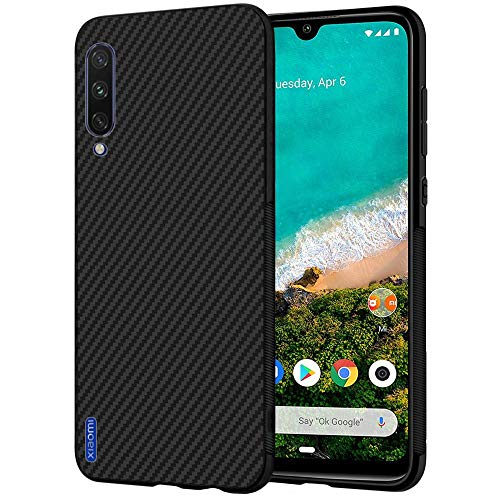 ebestStar - kompatibel mit Xiaomi Mi A3 Hülle Kohlenstoff Design Schutzhülle, TPU Handyhülle Flex Silikon Hülle, Schwarz [Phone: 153.5 x 71.9 x 8.5mm, 6.01'']