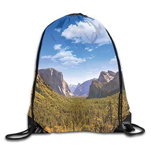 Bolsa con cordón para gimnasio, Yosemite El Capitan y media cúpula en los Parques Nacionales de California, Visión de verano, mochila con cordón, mochila para gimnasio, mochila para hombres y mujeres
