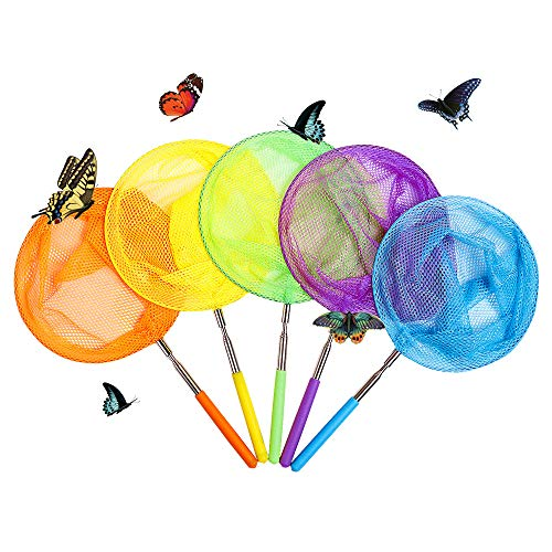 TSYAN Colorful Telescopic Butterfly Nets,Bugs Insects Crabs Catching Nets Outdoor Tools for Toddlers Kids Playing Handle Extendable 34 Inches and Anti Slip Grip(5 Pack)
