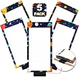 5 Pack Magnetic Notepads with Pen Holder for Fridge, Full Magnet Back Notepad, To Do List, Grocery Shopping, Space Theme, 6 x 3 Inches, 50 Sheets, Magnet Memo Pad for Fridge, Locker, File Cabinet, etc