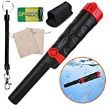 Metal Detector Pinpointer High Sensitivity,Fully Waterproof to 32FT with LCD Display,9V Battery, Sound/Vibration Indication, 360° Scanning,Handheld Metal Detector Accessory with Belt Holste (Black)
