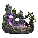 Fuente de escritorio Fuente de escritorio creativa interior Cascada Conjunto de fuente de resina Rockery Atomizador Accesorios de iluminación de bola giratoria Sala de estar Oficina Fuente de escritor