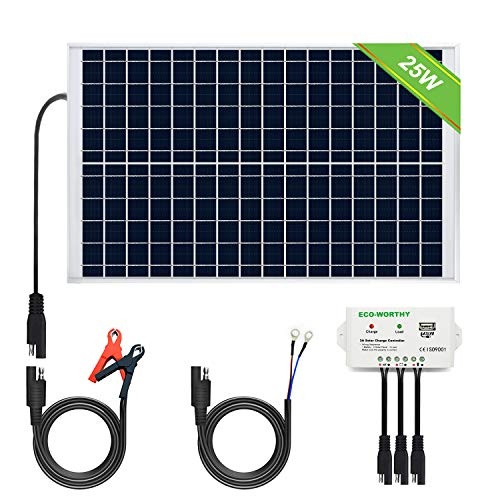 ECO-WORTHY Sistema de panel solar 12V 25W: Panel fotovoltaico policristalino de 1pc 25W con 3 cables...