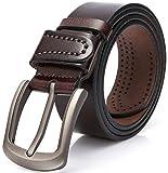 DOVAVA Cinturón de Cuero para Hombre, Longitud Ajustable en Marrón, Cinturones para Jeans, Casual o Formal (Marrón 2001, 115 cm (34'-38'))
