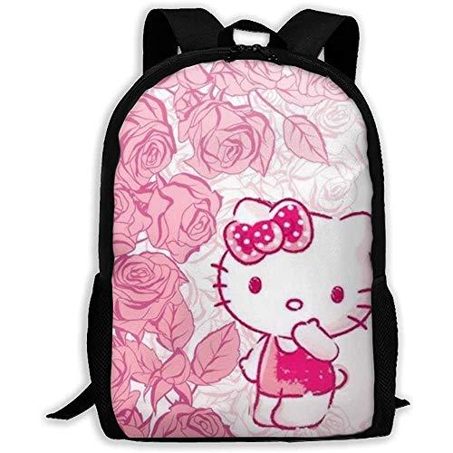 wobuzhidaoshamingzi Casual Rugzak Kitty met Rozen Print Rits School Tas Reizen Daypack Rugzak