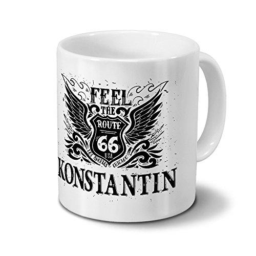 Tasse mit Namen Konstantin - Motiv Route 66 - Namenstasse, Kaffeebecher, Mug, Becher, Kaffeetasse - Farbe Weiß