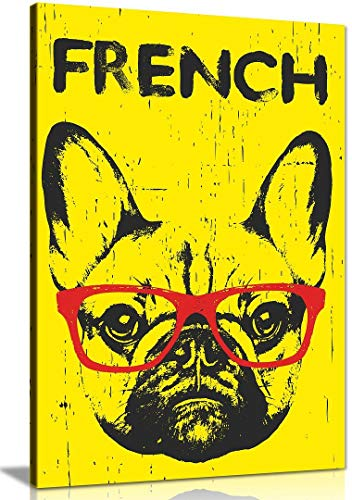French Bull Dog Canvas Wall Art Picture Print Home Decor (30x20in)