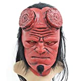 ZMJ Hellboy Mask with Hair Right Hand Glove Halloween Costume Latex (Mask Without Horn, red)