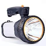 懐中電灯led 強力充電式 最強 超高輝度 充電式ハンドヘルドサーチライトハイパワースーパーブライト9000 MA 6000ルーメンクリエイティブスポットライトトーチランタン(銀)
