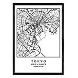 Nacnic Blatt Tokyo Stadtkarte nordischer Stil schwarz und