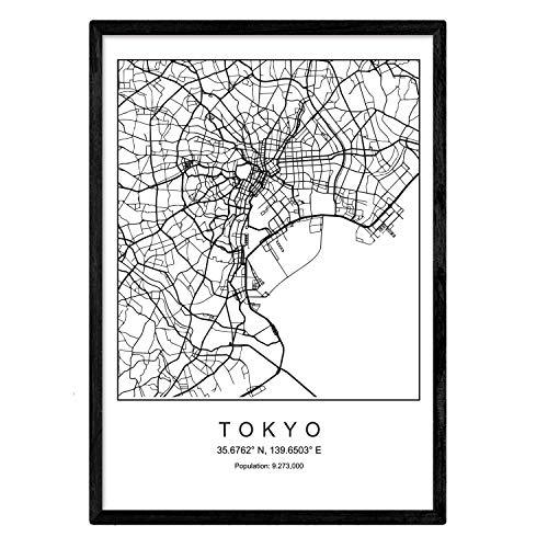Nacnic Lámina Mapa de la Ciudad Tokyo Estilo nordico en Blanco y Negro. Poster tamaño A3 Sin Marco Impreso Papel 250 gr. Cuadros, láminas y Posters para Salon y Dormitorio