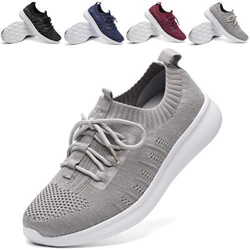 DADAWEN Women's Athletic Walking Shoes Lightweight Casual Breathable Sneakers Tennis Shoe Gray US Size 5