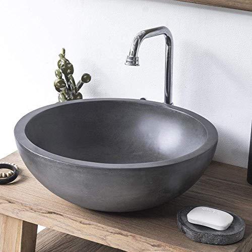 Magnus Home Products Large Sardis Round Cast Concrete Vessel Bathroom Sink, Dusk Grey, 26.0 lb