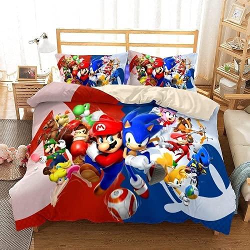 WMSYJR Juego de ropa de cama Sonic y Mario, 100 % microfibra, dibujos animados, suave y ligero,...