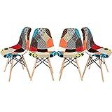 Lot de 4 Chaises Rétro Tissu avec DossierPieds en Bois sur Salle à Manger, Cuisine, Bar, Bureau ou Salon, Taille: 47 * 47.5 * 81cm