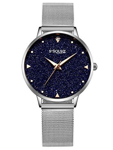 Alienwork Damen-Armbanduhr Quarz Silber mit Metall Mesh Armband Edelstahl schwarz echtes Marmor Zifferblatt