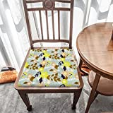 Cojín de asiento para silla, espuma de memoria, estampado floral, cojines de asiento para oficina, hogar o asiento de coche