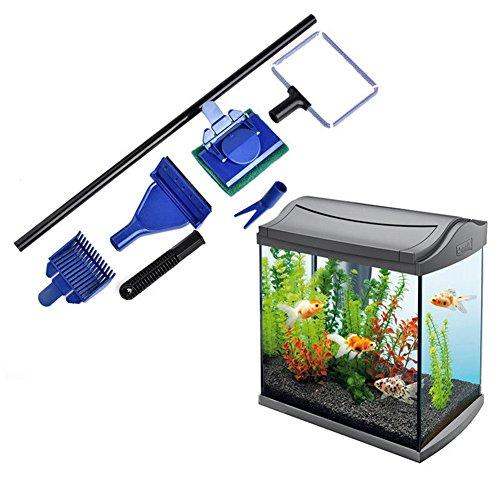 5 en 1 Aquarium Kit de nettoyage, Inclure un Râteau de gravier, poissons, filet, Algues Grattoir, fourche, éponge