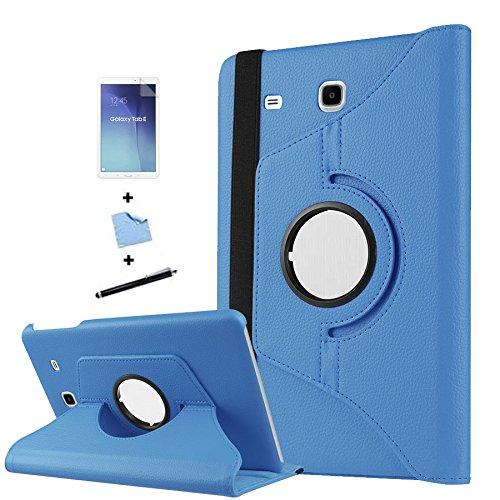 TIODIO 4 en 1 Case Cover Custodia per Samsung Galaxy Tab E 9.6-Inch SM-T560/SM-T561 Cover in Ecopelle con Meccanismo di Rotazione di 360° per Posizionamento Verticale ed Orizzontale del Tablet,Pellicola di Protezione e dello stilo Incluse, Azzurro
