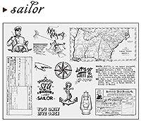 セーラーナビゲーションケーキDIYスクラップブッキングフォトアルバム用透明クリアシリコンスタンプシール装飾クリアスタンプA1277
