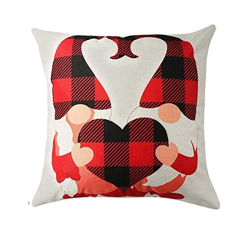 Oppal Nuevo 1PC Día de San Valentín Funda de Almohada de Lino de algodón Funda de cojín para sofá Decoración del hogar, Funda de Almohada para el Día de Pascua (A23)