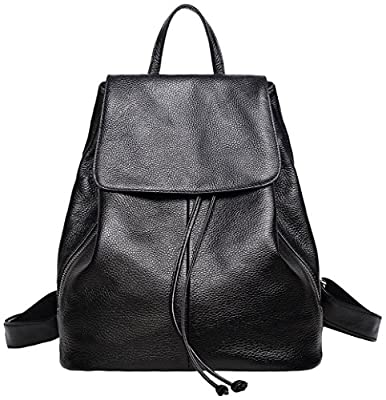 Genuine Leather Backpack for Women Elegant Ladies Travel School Shoulder Bag