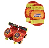 PlayWheels Blaze and the Monster Machines Kids Roller Skates with Knee Pads - Childrens Adjustable Skates - Junior Size 6-12