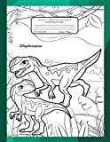 Primary Composition Notebook Handwriting Story Paper: Practice Writing Sheets | K-2 Grades School Book | Mid-Line Sheets With Picture Space | Bonus Dinosaurs Coloring | Dilophosaurus Cover to Colour