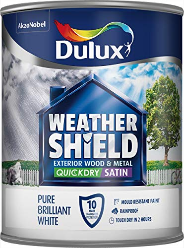 Dulux Weather Shield Quick Dry Satin Paint, 750 ml - Pure Brilliant White