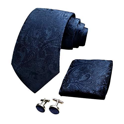 CANGRON Hombres Azul Marino Paisley Corbata Tejida Corbata para Hombres Conjunto de Gemelos Cuadrados de Bolsillo ELSP8HL