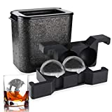 ROTTAY Whiskey Ice ball Maker Crystal Clear Ice Ball Mold Large Clear Round Ice Duo for Whiskey, Cocktail, Brandy (Ball)