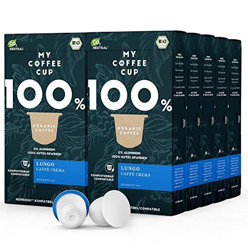 My Coffee Cup – LUNGO CAFFÈ CREMA– BIO-KAFFEE 10 PACKUNGEN I 100 Kaffeekapseln für Nespresso®³-Kapselmaschinen I 100% industriell kompostierbare Kaffeekapseln – 0% Alu I Nachhaltige Kaffeekapseln