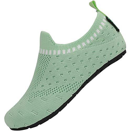 Zapatillas de Estar por Casa para Niño Niña Verano Antideslizantes Pantuflas de Niños Ligeras Cómodos Zapatos de Punto Infantiles Unisex, Verde 28/29