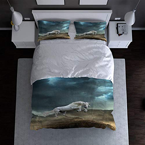 QDDRL 3-Piece Bedding Sets 260x220 CmAnimal White Horse With Zipper Closure Ultra Soft Microfiber Duvet Cover for Adult, Kids And Teens, With 2 Pillowcases