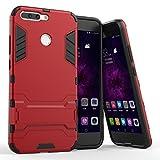 Funda Huawei Honor 8 Pro, MHHQ 2in1 Armadura A Prueba de Choques Heavy Duty Escudo Cáscara Dura PC + Suave TPU Silicona Case Cover con soporte para Huawei Honor 8 Pro / V9 -Red