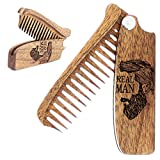 Peine para barba para hombre – peines plegables de bolsillo para bigote y pelo Viaje Peine de madera natural con grabado de hombre real – perfecto para usar con aceite de bálsamo para barba