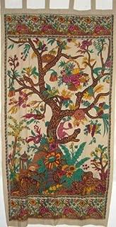 Tree of Life Tab Top Curtain-Drape-Door Panel-Cream by India Arts