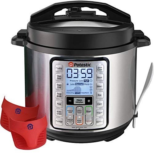 Potastic 6Qt 10-in-1 Programmable Pressure, LCD Display,Instant Cooking with Stainless Steel Pot, Multi, Slow, Rice, Yogurt Maker, Egg Cooker, Saute, Steamer, Warmer